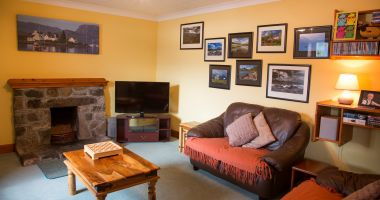 The lounge in Duart Cottage, Lochcarron, Scotland.