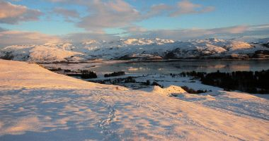 A wintry scene from the hillside not far from Gardener's Cottage, Lochcarron.