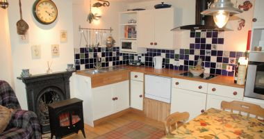 The spacious and well equipped kitchen/dining room at Roseate Cottage, Lochcarron.