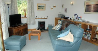 The lounge in Tigh Charrann, Croft Road, Lochcarron, Scotland.
